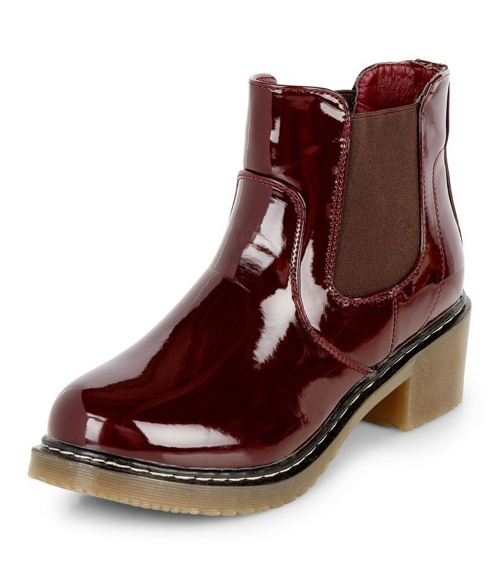 5c0d755d8b9 Burgundy Patent Chunky Chelsea Boots   New Look