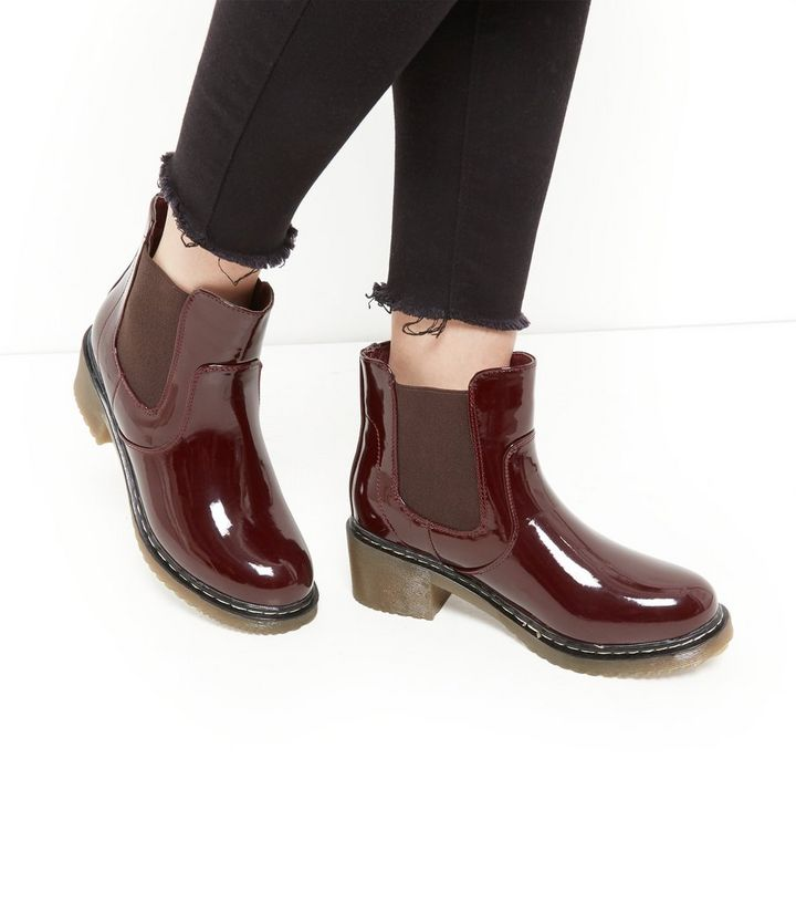 3bc00742473 ... Burgundy Patent Chunky Chelsea Boots. ×. ×. ×. VIDEO Shop the look