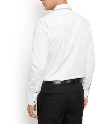 White Contrast Trim Collar Long Sleeve Shirt New Look