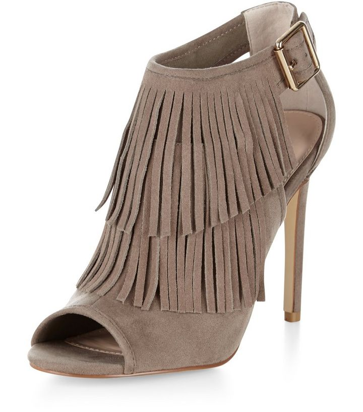 e7ed7f4486 Light Brown Fringed Cut Out Side Heels   New Look