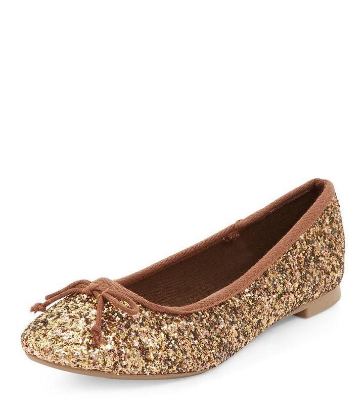 7fff3a9287d8 Gold Glitter Ballet Pumps