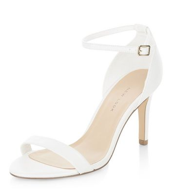 Wide Fit White Ankle Strap Heels | New Look