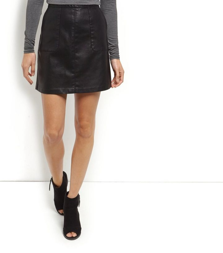 new how to purchase hot-selling cheap Black Leather-Look Patch Pocket A-Line Skirt Add to Saved Items Remove from  Saved Items