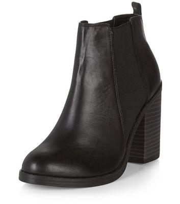 comfortable black booties with heel