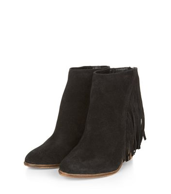 Black Suede Tassel Side Pointed Ankle