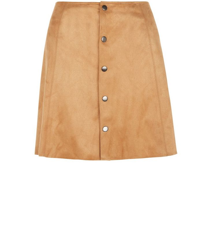 7851a2df18 Fashion Union Tan Suedette Button Front Skirt | New Look