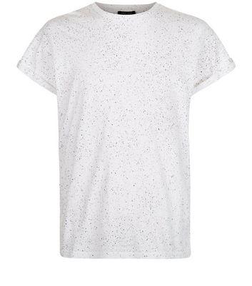 White Spray Wash T-Shirt New Look