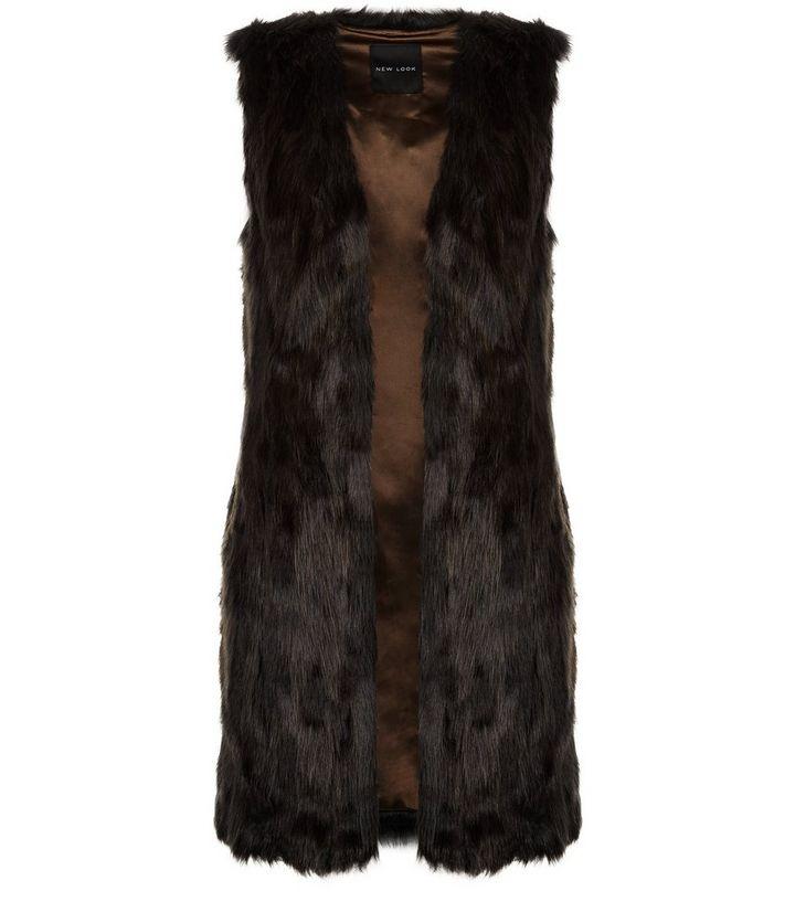 5227328336df3 Dark Brown Faux Fur Longline Gilet