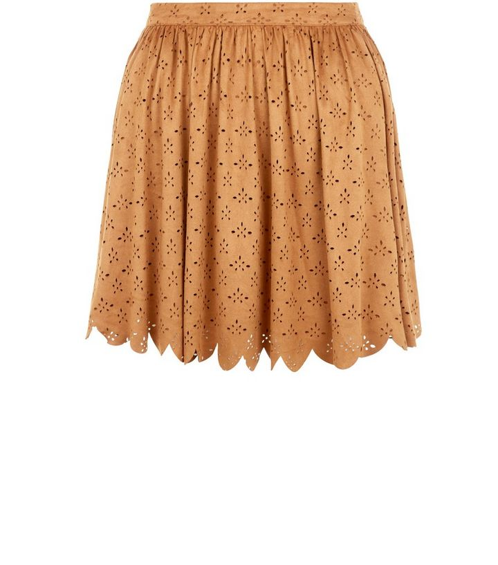 Parisian Light Brown Suedette Laser Cut Skater Skirt  a952993a3