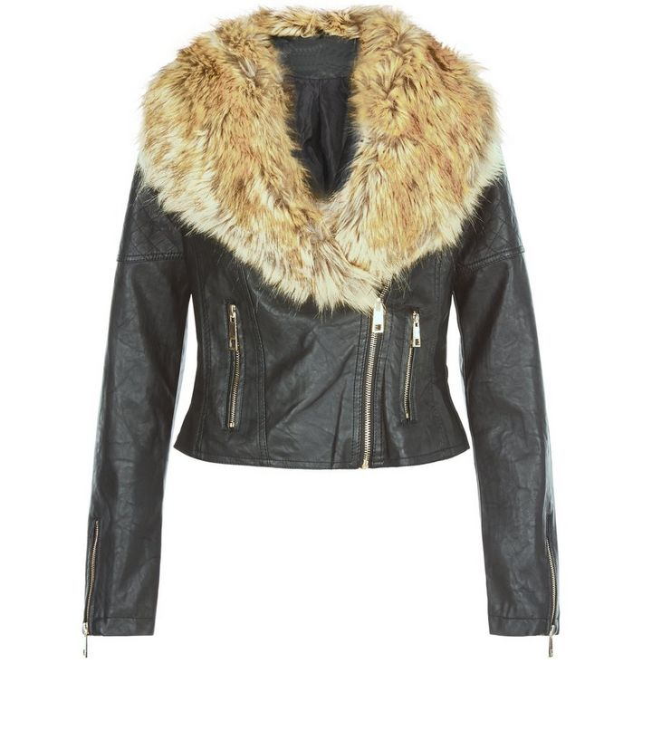 620ffe045 Parisian Stone Faux Fur Trim Leather-Look Biker Jacket Add to Saved Items  Remove from Saved Items