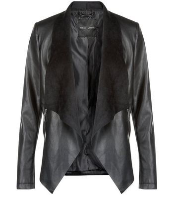 Black Suedette Contrasted Bonded Waterfall Jacket New Look