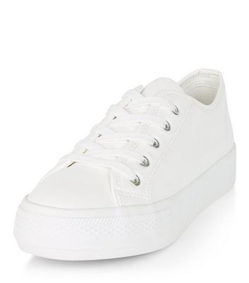 White Thick Sole Lace Up Trainers   New