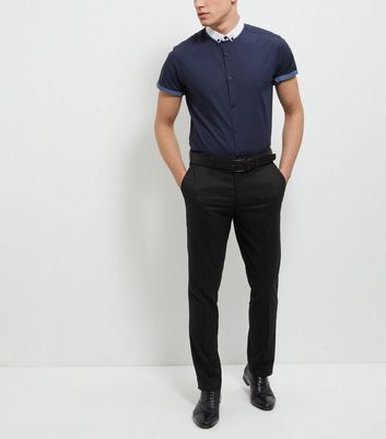 Navy Contrast Trim Short Sleeve Shirt New Look
