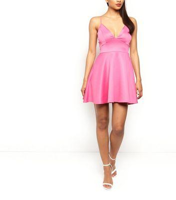 AX Paris Pink V Neck Skater Dress New Look