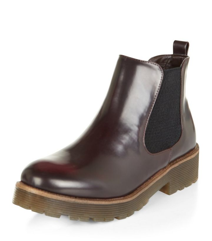 b87f8fb1813 Teens Burgundy Patent Chelsea Boots   New Look
