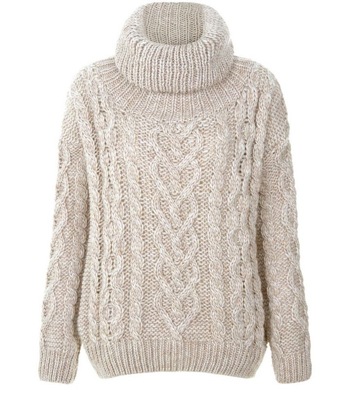 7bf888d303e Stone Premium Cable Knit Roll Neck Jumper | New Look