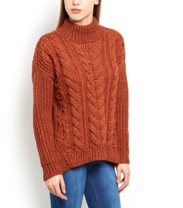 9ef54dea30c Home · Womens · Clothing · Knitwear · Rust Premium Cable Knit Roll Neck  Jumper. ×. ×. ×. Shop the look