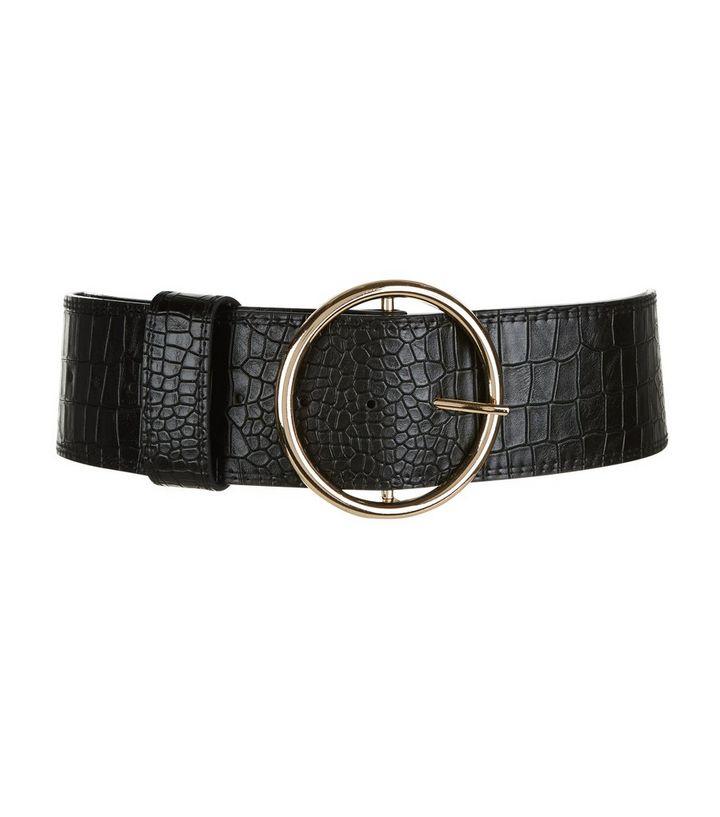 7709423f7 Black Croc Texture Round Wide Buckle Waist Belt | New Look