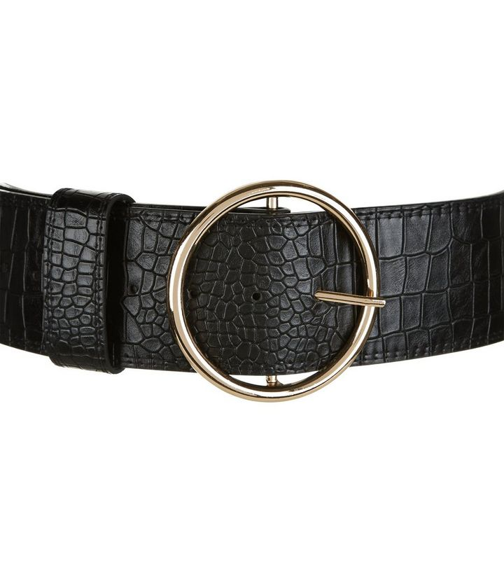 4d643f6c4 ... Black Croc Texture Round Wide Buckle Waist Belt. ×. ×. ×. Shop the look