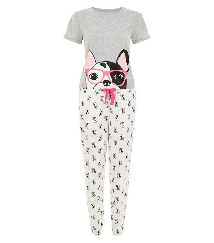 b26016e2c3f5 Teens White French Bulldog Pyjama Set