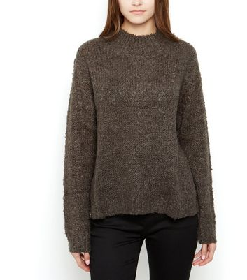 JDY Khaki High Neck Knit Jumper New Look