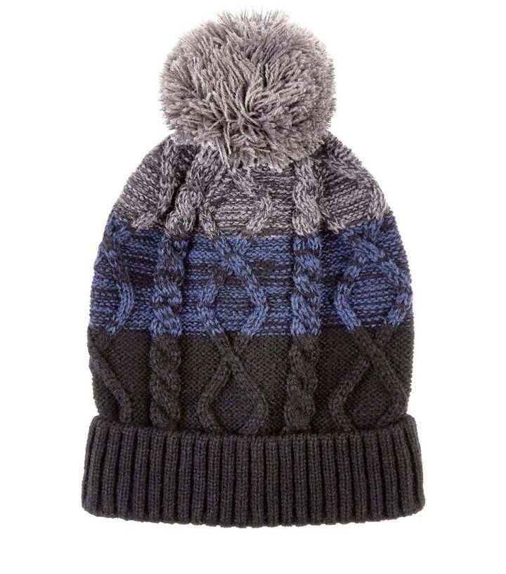 ce02bde63cc Black Colour Block Cable Knit Bobble Hat