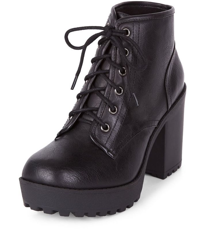 8998dfe424c1 Black Lace Up Block Heel Ankle Boots
