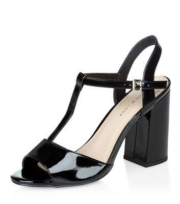 Wide Fit Black Patent Block Heel