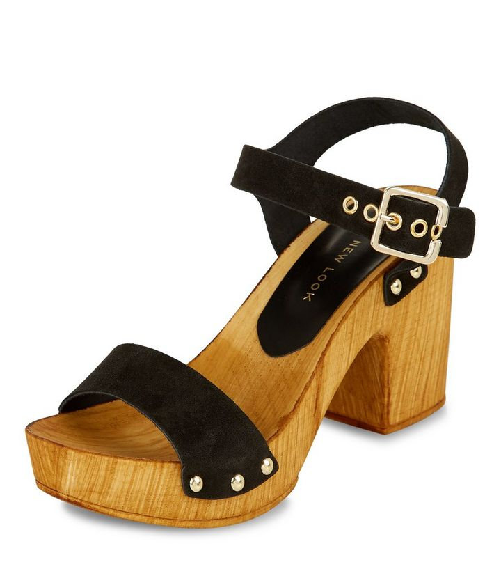Black Leather Wooden Block Heel Sandals Add To Saved Items Remove From Saved Items