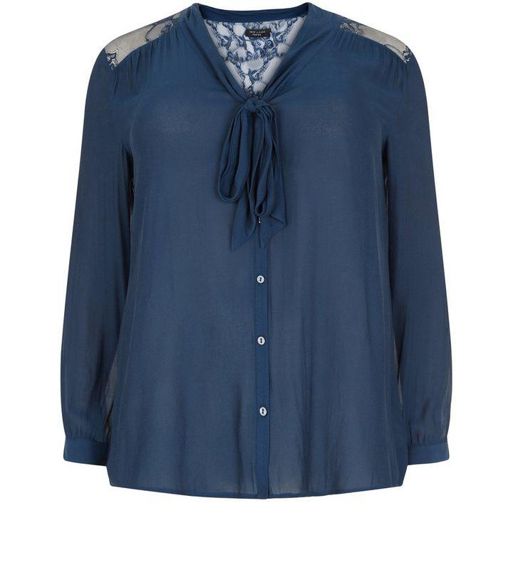 0c3d5755714 Plus Size Teal Lace Shoulder Pussybow Shirt