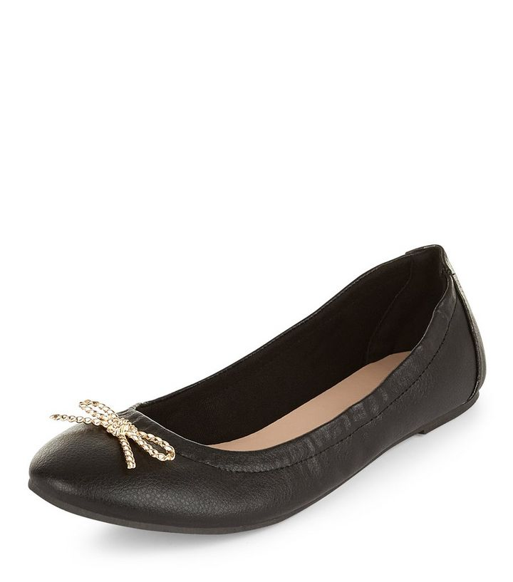 dc1b8253e9 Teens Black Leather-Look Bow Ballet Pumps | New Look