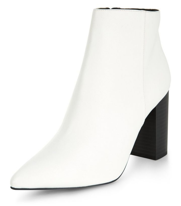 6df517a68c7 Wide Fit White Block Heel Ankle Boots Add to Saved Items Remove from Saved  Items