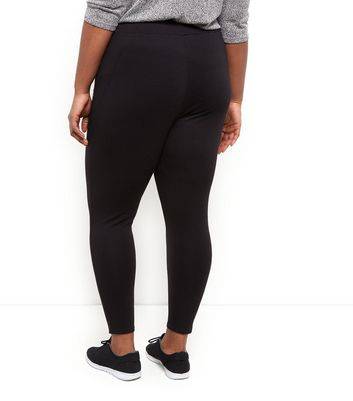 Curves Black Zip Pocket Leggings New Look