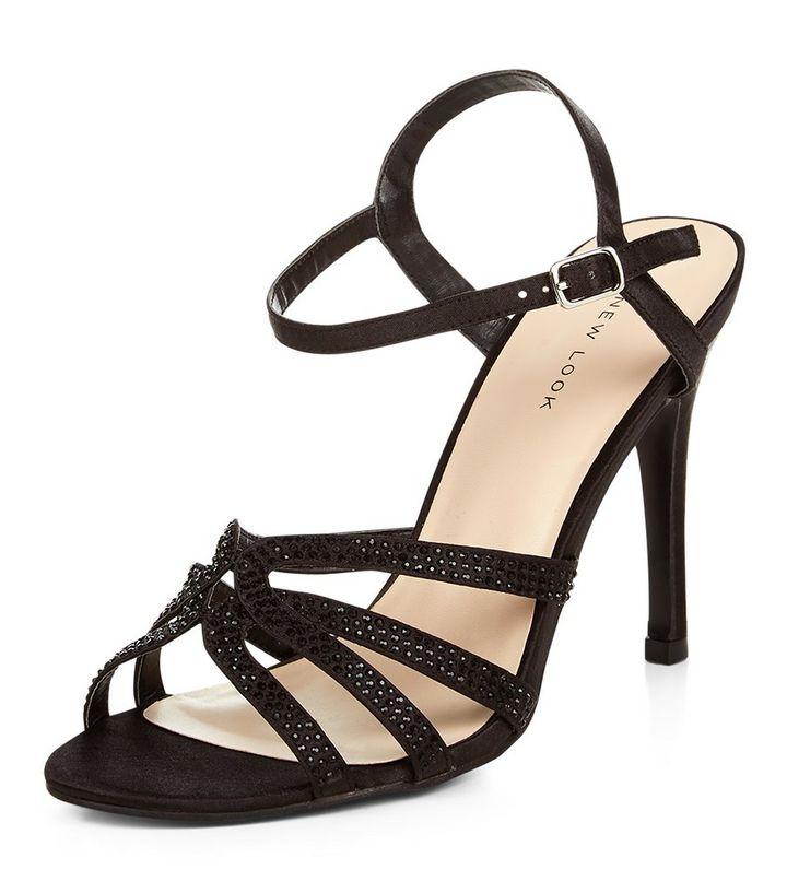 bd60b84207d Black Embellished Ankle Strap Heels