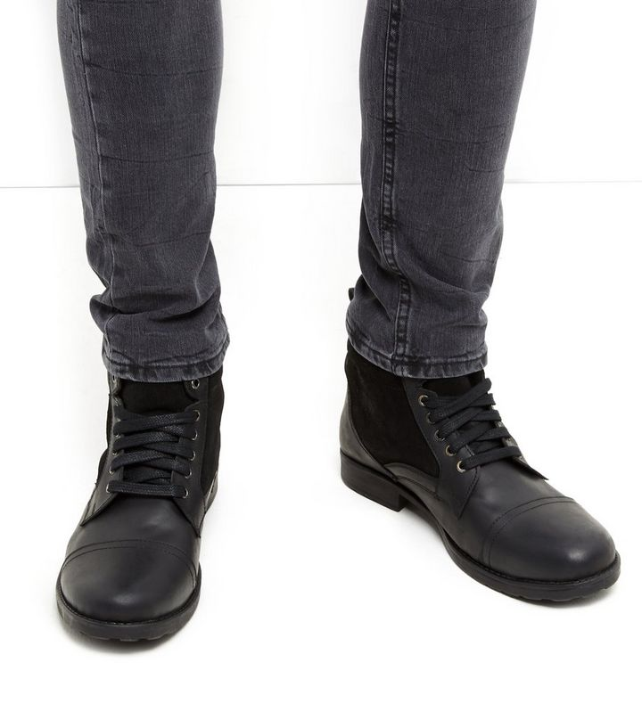 Black Leather Military Boots  43f19c4b3c4