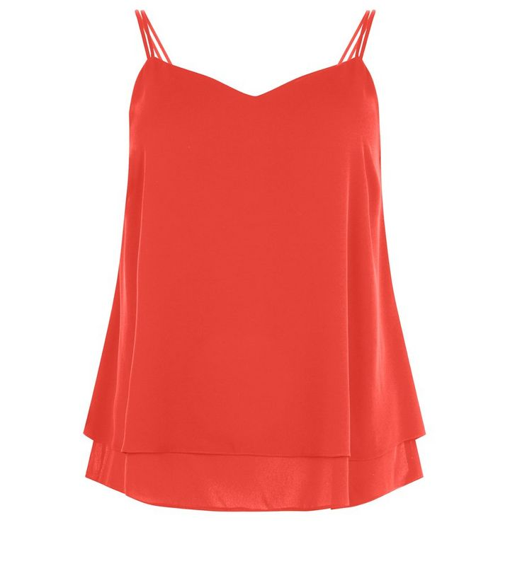 96fc35b3e9603 Plus Size Red Double Strap Layered Cami