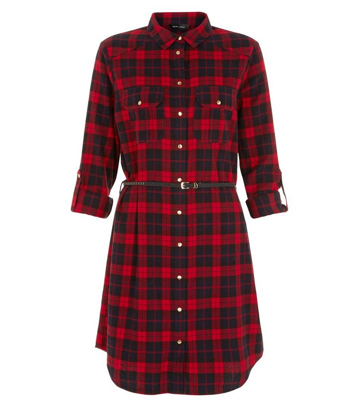 5c4a54395b9e4 Red Check Belted Shirt Dress