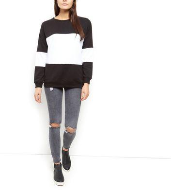 Black Colour Block Sweatshirt New Look