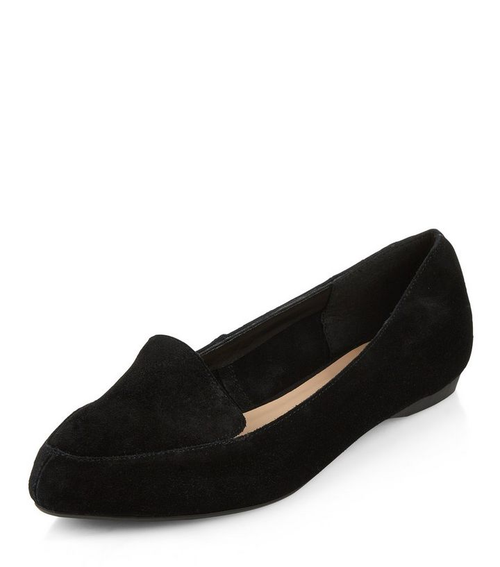 168ec0fdfea Wide Fit Black Suede Pointed Loafers