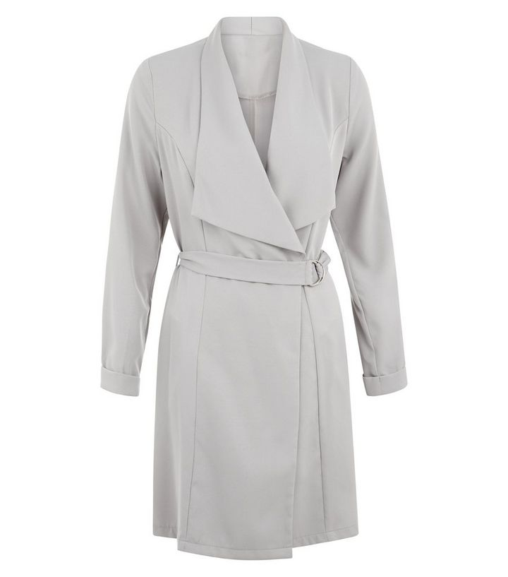 Cameo Rose Grey Belted Waterfall Jacket  775eb6d1c