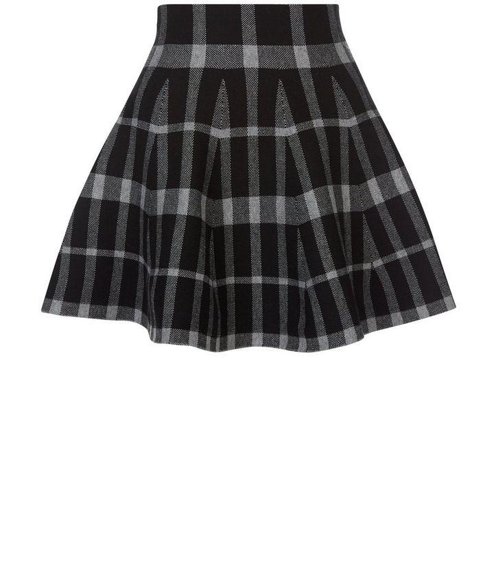 Petite Black Check Jacquard Knitted Skater Skirt New Look