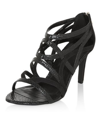 Wide Fit Black Leather-Look Caged Heels
