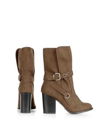 Wide Fit Light Brown Suedette Eyelet Strap Calf High Boots New Look