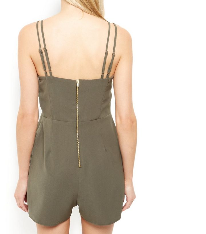 ff909dd74e7 ... Womens Clothing · Jumpsuits   Playsuits · Khaki Metal Bar Double Strap  Playsuit. ×. ×. ×. Shop the look