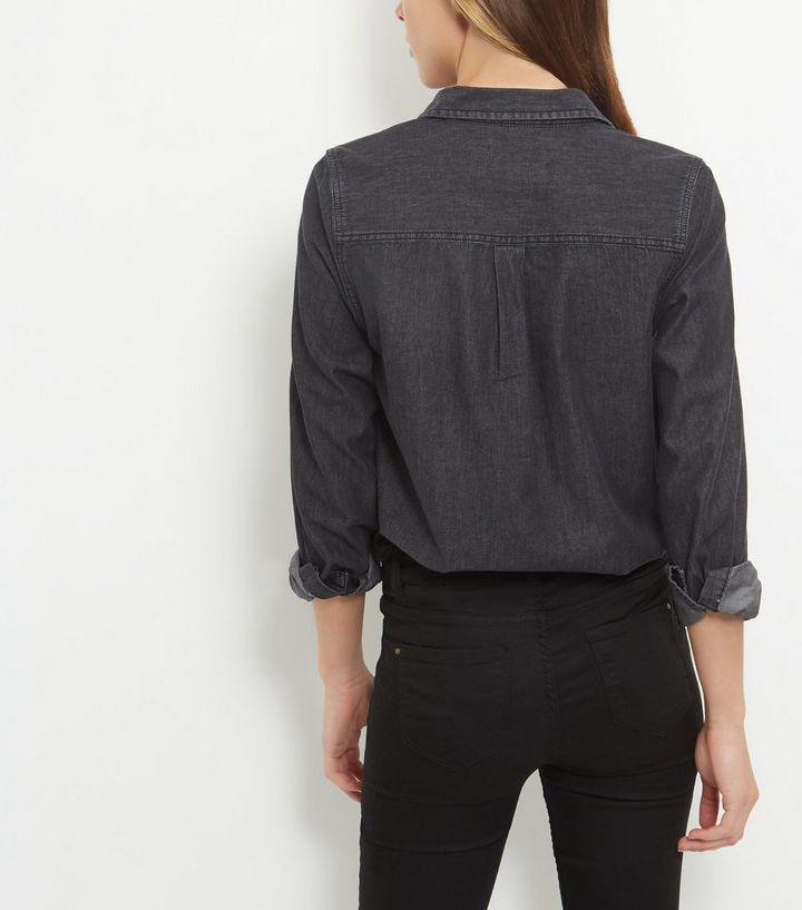 89007d1c ... Black Double Pocket Long Sleeve Denim Shirt. ×. ×. ×. Shop the look