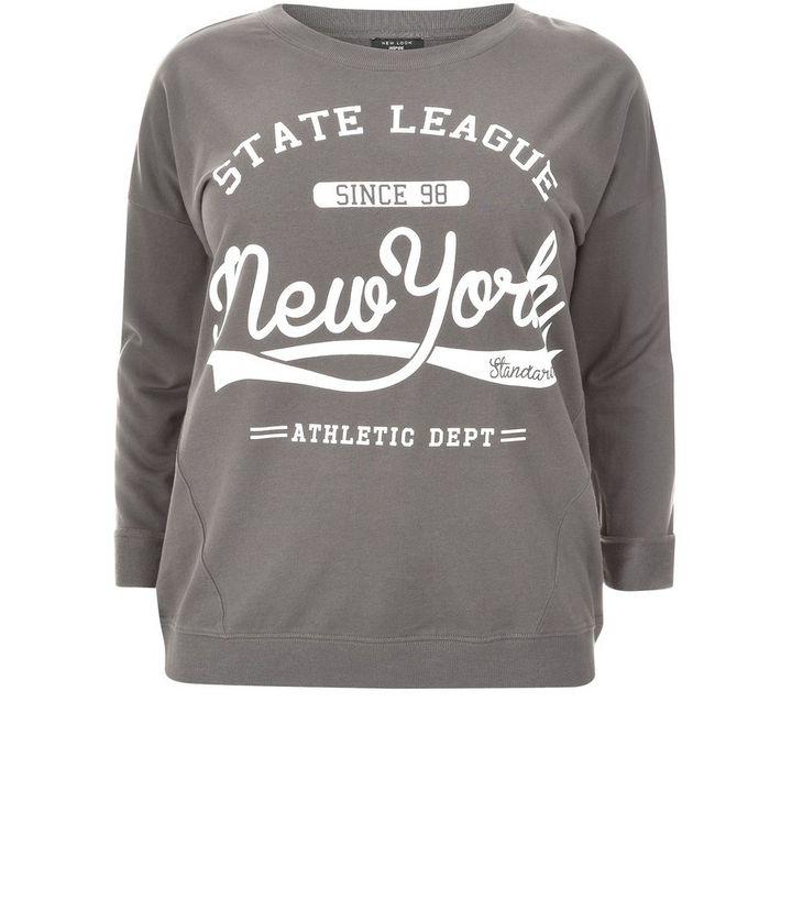 4ae2af83 Plus Size Dark Grey New York Sweater   New Look
