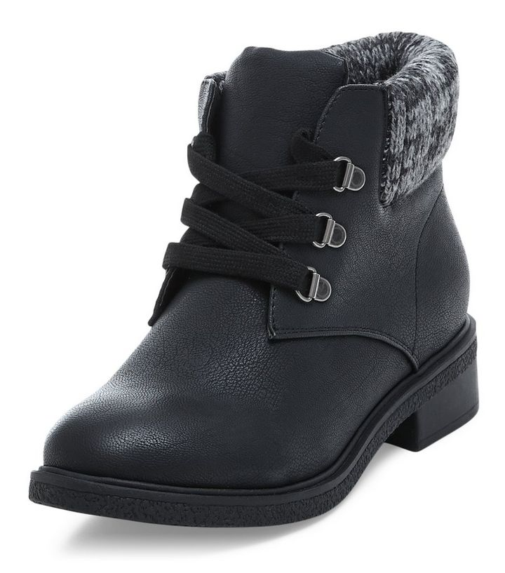 d4a505371b815 Teens Black Knit Cuff Lace Up Ankle Boots | New Look