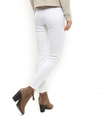 White Ripped Knee Skinny Jeans New Look