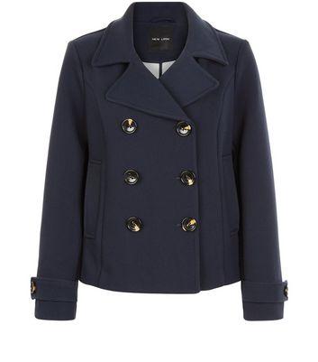 Navy Short Pea Coat New Look, Womens Short Pea Coat Uk