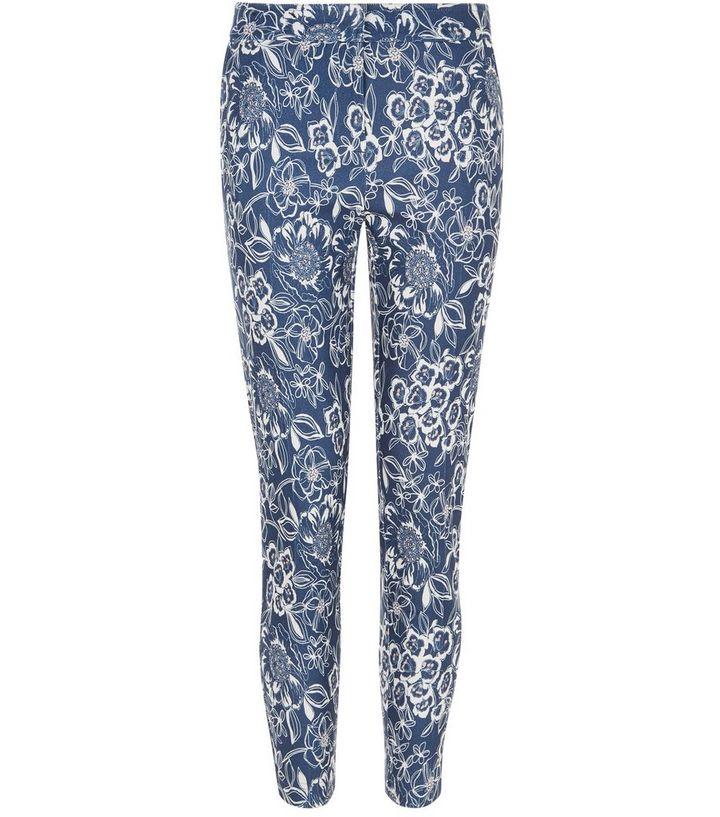 4eb8dbfda31 Blue Floral Print Trousers